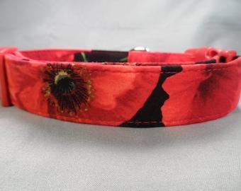 Large Red Poppy Flower Dog Collar