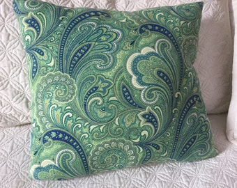 DECORATIVE PILLOW-Navy and Green Paisley