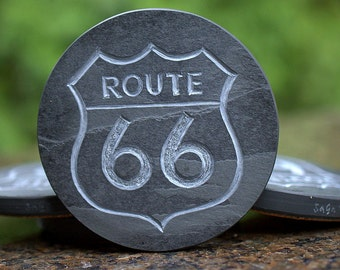 Route 66 designed natural black Slate round shape hand carved stone coasters