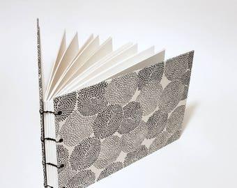 white with black mums coptic bound wedding guest book - lined wedding guestbook - small wedding guest book - hand bound wedding guest book