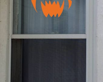 2 Flaming Jack O' Lantern Window Cling, Halloween, Gifts, Party, House decorating, Scary Pumpkin