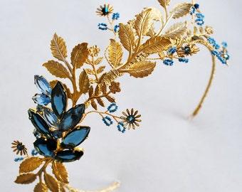 Gold blue bridal leaf crown