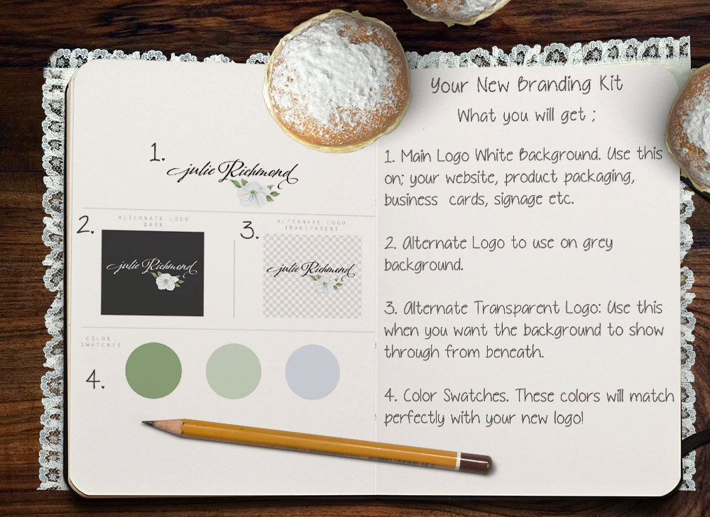 Premade Logo Design Swing Tag Handwritten Branding Kit Apple Flower ...