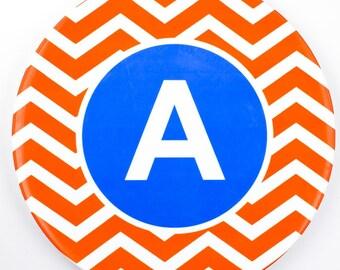 Personalised Initial Plate Orange/Blue