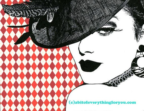 Harlequin Hat Lady print original art derby hat fashion art makeup beauty art modern pop red black and white, womans face 80s style