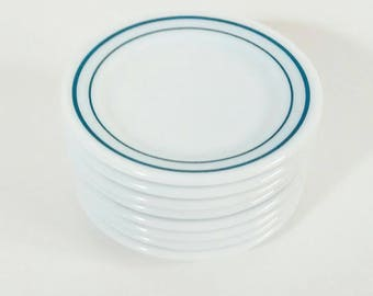 Anchor Hocking Anchorware double blue band bread and butter plates, 8 eight