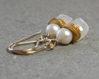 White Moonstone, Pearl Earrings June Birthstone Geometric Jewelry Gold Gemstone Cubes