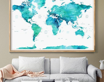 Personalized Push Pin World Map Poster World Map Watercolor Blue-Mint Countries, World Map Push Pin wedding gifts for couple Idea Wall (L84)