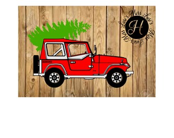 Jeep with Christmas tree  SVG DFX Cut file Christmas  cut file Red Truck Christmas tree