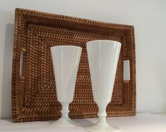 2 white milkglass vase vases vintage