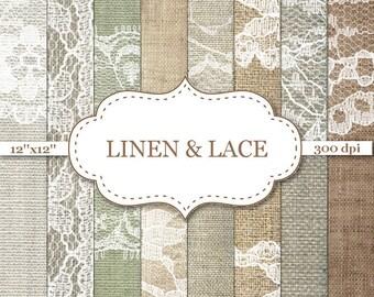LINEN & LACE Digital Paper Burlap digital paper White lace digital paper Scrapbook paper Rustic wedding backgrounds Rusic textures #P048