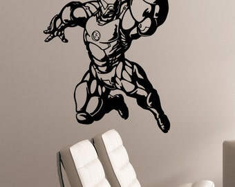 Iron Man Wall Art Decal Tony Stark Vinyl Sticker Marvel Comics Art Decorations for Home Housewares Playroom Boys Room Superhero Decor irm5