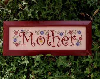 Mother! Counted Cross Stitch Instant Download Pattern. Counted Embroidery Chart. Whimsical Design Floral Mother's Day. Mom Mommy X Stitch.