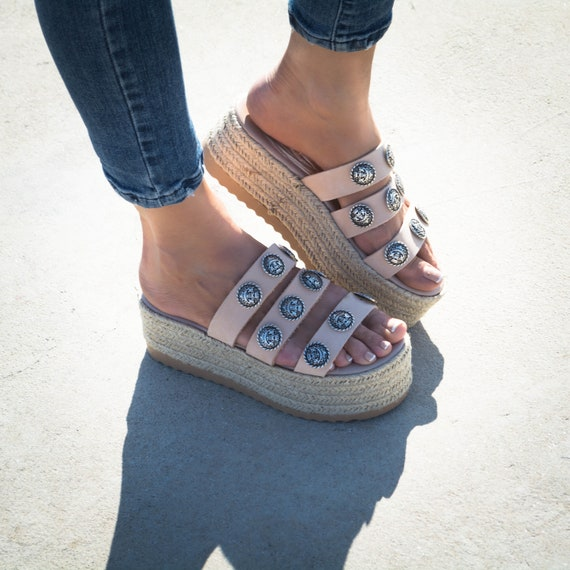 Nude Sandals flatform nude espadrille platforms leather platform sandals wedge sandals greek sandals sandals ''Rodeo'' genuine rwrq8