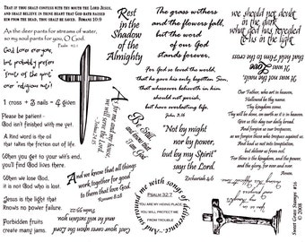 Scriptures Rubber Stamp Sheet 8 1/2 x 11, Christian, bible verses, Sweet Grass Stamps No.16