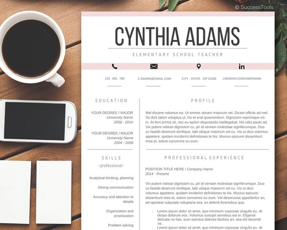 teacher resume templatemodern resume template wordcv template for ms word resume package with references 2 pages instant download - Resume Template Design Word