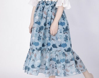 Once upon a time Collection blue night forest tiger sheer skirt