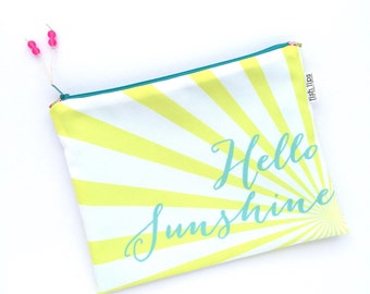Hello Sunshine Bikini Bag, Yellow Water Resistant Wet Bag, Beach Bag Zipper Pouch, Recycled Canvas, Wipe-able Handmade Gift for Summer