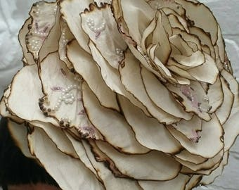 Giant cream silk wedding rose flower headpiece with pearl embellishments