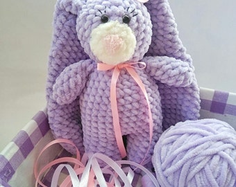 Plush bunny Crochet bunny Bunny with long ears Purple bunny Handmade toys Bunny with pink bow Oryginalny gift Gift for children and adults