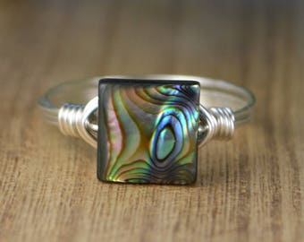 Square Abalone Ring - Sterling Silver, Yellow or Rose Gold Filled Wire Wrapped with Shell Bead - Any Size 4 5 6 7 8 9 10 11 12 13 14