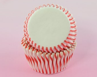 Orange Red Cupcake Liners Stripes, 2'' Standard Size , Baking Cups,