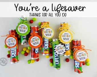 42 You're a Lifesaver Treat Tag / Thank you gift / Teacher Appreciation Gift / Random Acts of Kindness / Gift for friends