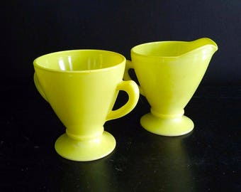 Vintage Hazel Atlas Chartreuse Milk Glass Footed Cream and Sugar Set with Handles