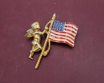 Cherub with American Flag Brooch