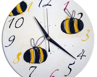 Bumble Bee Clock / Children's / Boys / Girls Wall Clock / Nursery Decor