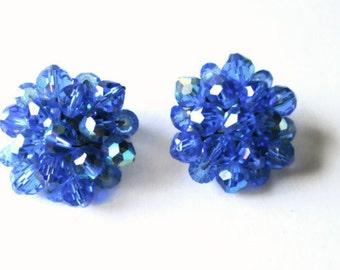 Vintage Crystal Blue Earrings Cluster Bridal Clip Backs  1950s