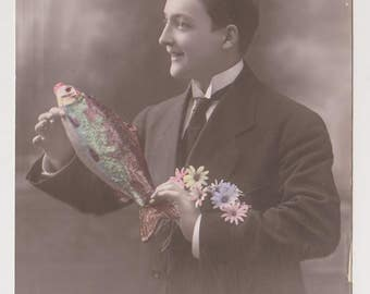 Antique French Postcard, April 1st, Man Holding Fish and Flowers, April Fools Day, Ephemera
