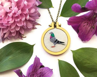 Homing Pigeon// Hand Embroidered Pendant Necklace