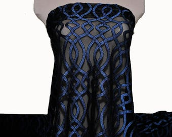 Stretch lace color chart  54inches wide -1 yard. Royal/Black  . formal wear, bridal, mother of bride, flower girl