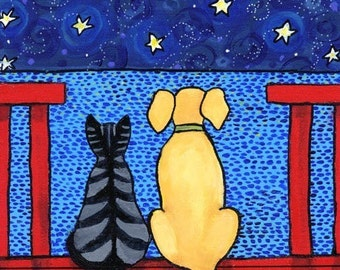 Best Friends......Tabby Cat and Dog - print Shelagh Duffett