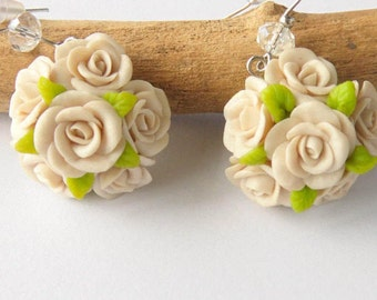 Rose earrings polymer clay jewelry trending jewelry gift for her Ivory rose jewelry Shabby chic romantic earrings floral jewelry flower gift