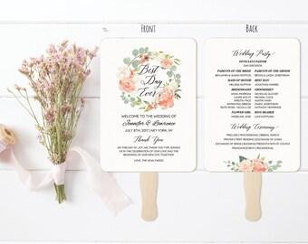 "5x7"" Peach Cream Wedding Program Fan Style Template, Printable Double Sided Wreath Wedding Ceremony, Vistaprint, DIY Instant Download #106"