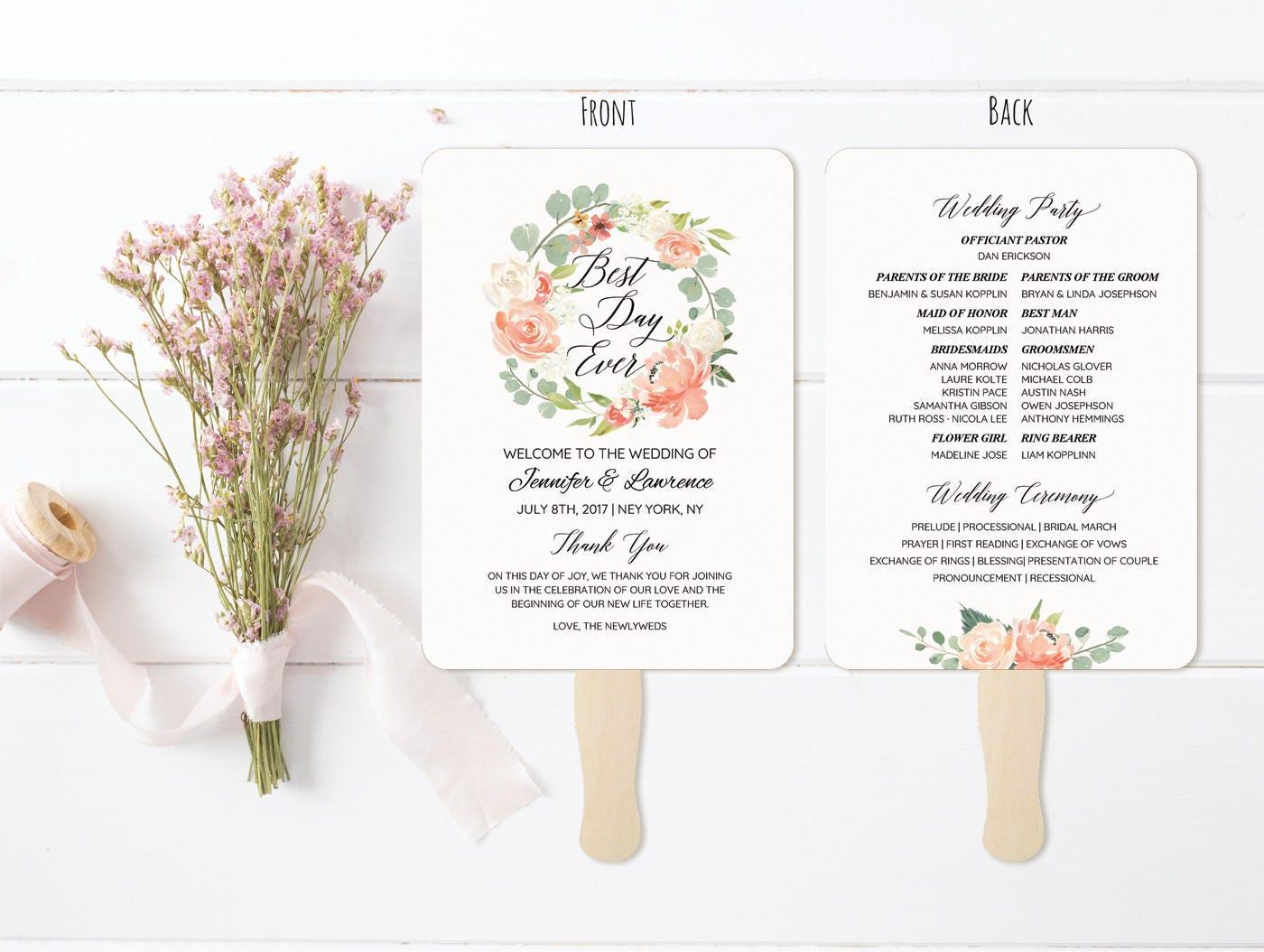 5x7 peach cream wedding program fan style template