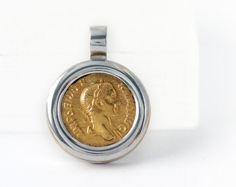Coin pendant, Roman coin necklace, Large coin necklace, Alexander the great, Men women Jewelry, Coin Vintage, Disc necklace, Coin necklace