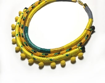 Leona- Handmade wrapped statement necklace
