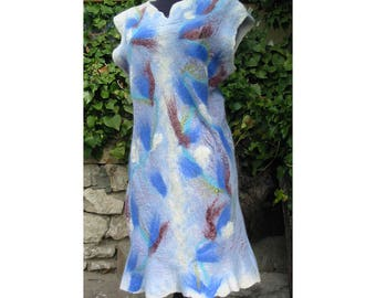 Felt Dress,Felt Tunic,Merino Wool Dress,European Design,Blue Dress,Merino Wool Felt Dress,Art Deco ,Woman Gift