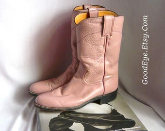 All Leather Justin ROPER Boots / DUSTY ROSE Pink Leather / Women size 7  Eu 38 Uk 5 .5 Narrow width / Men 6 b  Western Ankle Boot