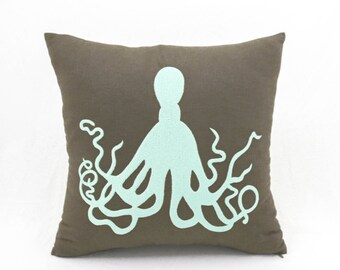 Octopus Pillow Cover, Nautical Decor, Brown Linen Pillow, Turquoise  Cushion, Embroidery Pillow, Sea life Pillow, Couch Pillow, Cushion