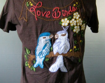 Vintage 90's 'Love Birds' Hand Sewn Top w/ Flower Detailing Size S