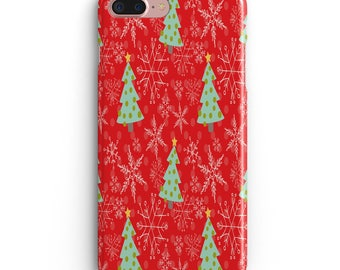 Red tree Apple Iphone 6 6s Case plus 7 plus  iphone X 10 8 black accessories Holiday season Christmas green
