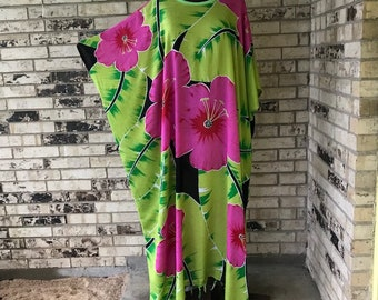 RESERVED FOR ANNETTE.....Long Plus Size Lightweight Rayon Caftan