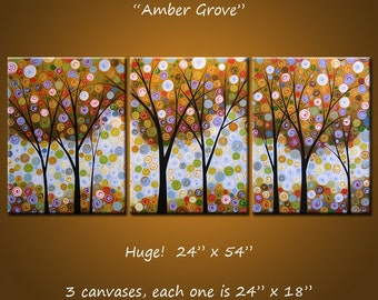 "Extra Large Wall Art Triptych Abstract Painting Modern Contemporary Landscape Trees ... 24"" x 54"",  3 canvases .... Amber Grove"