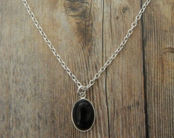 Black Onyx Necklace, Black Onyx Pendant, Silver Black Onyx Necklace, Silver Necklace