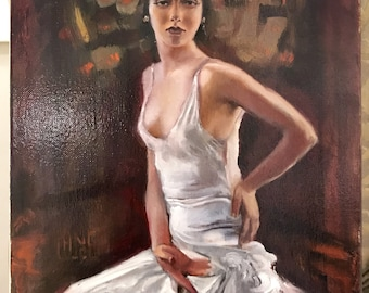 The White Dres - Oil Painting