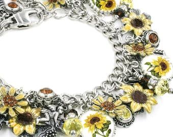 Sunflower Jewelry, Sunflower Bracelet, Charm Bracelet, Sunflower Yellow, Sunny Bracelet, Sunflower Seed Charm in stainless steel